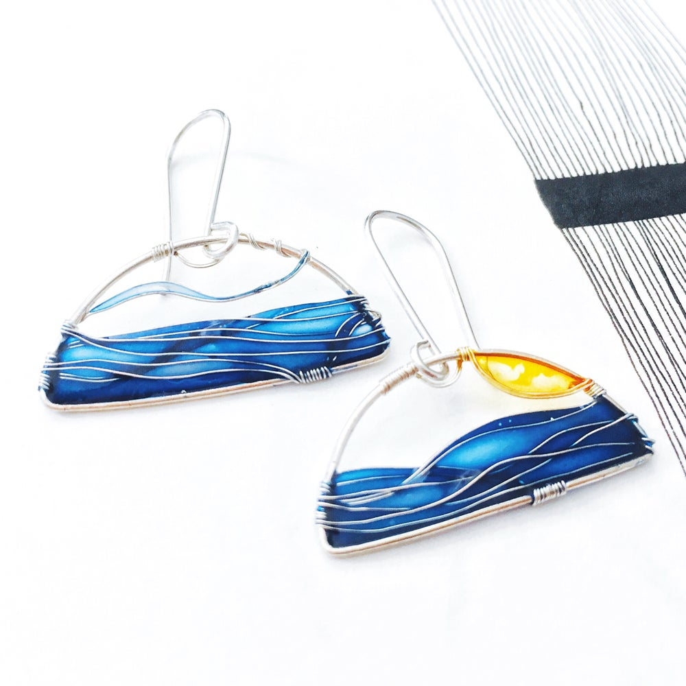 Image of Calm Sea Silver Earrings