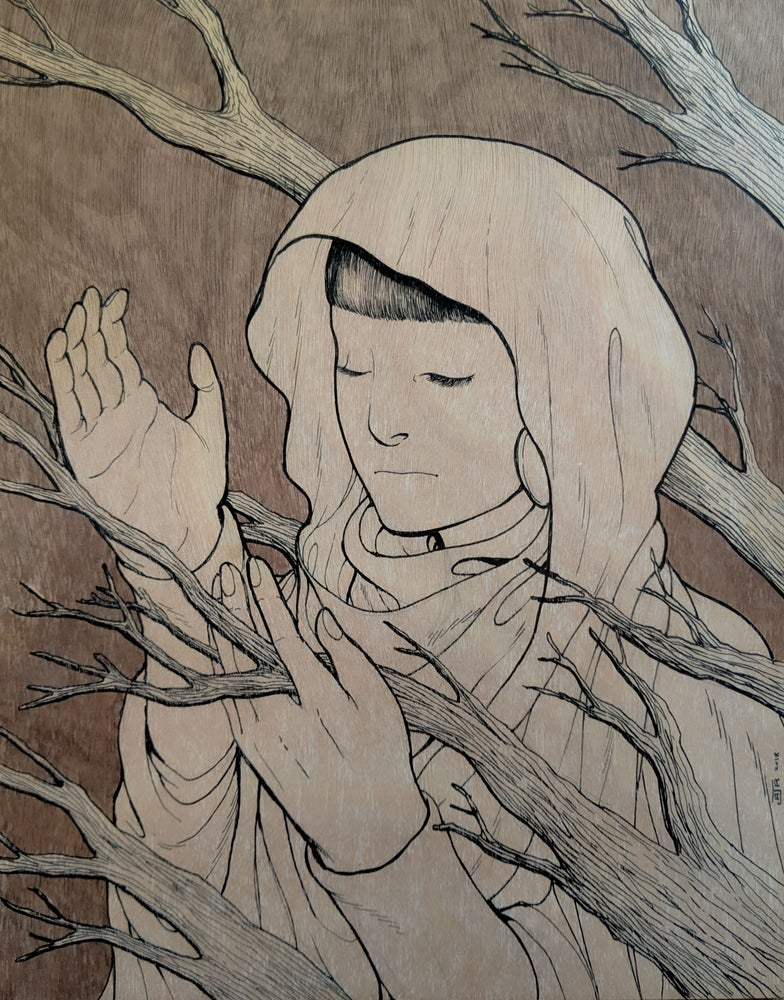 """Image of """"Priestess of the Dead Forest"""" - Ink on Wood"""