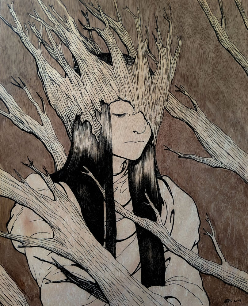 """Image of """"Queen of the Dead Forest"""" - Ink on Wood"""