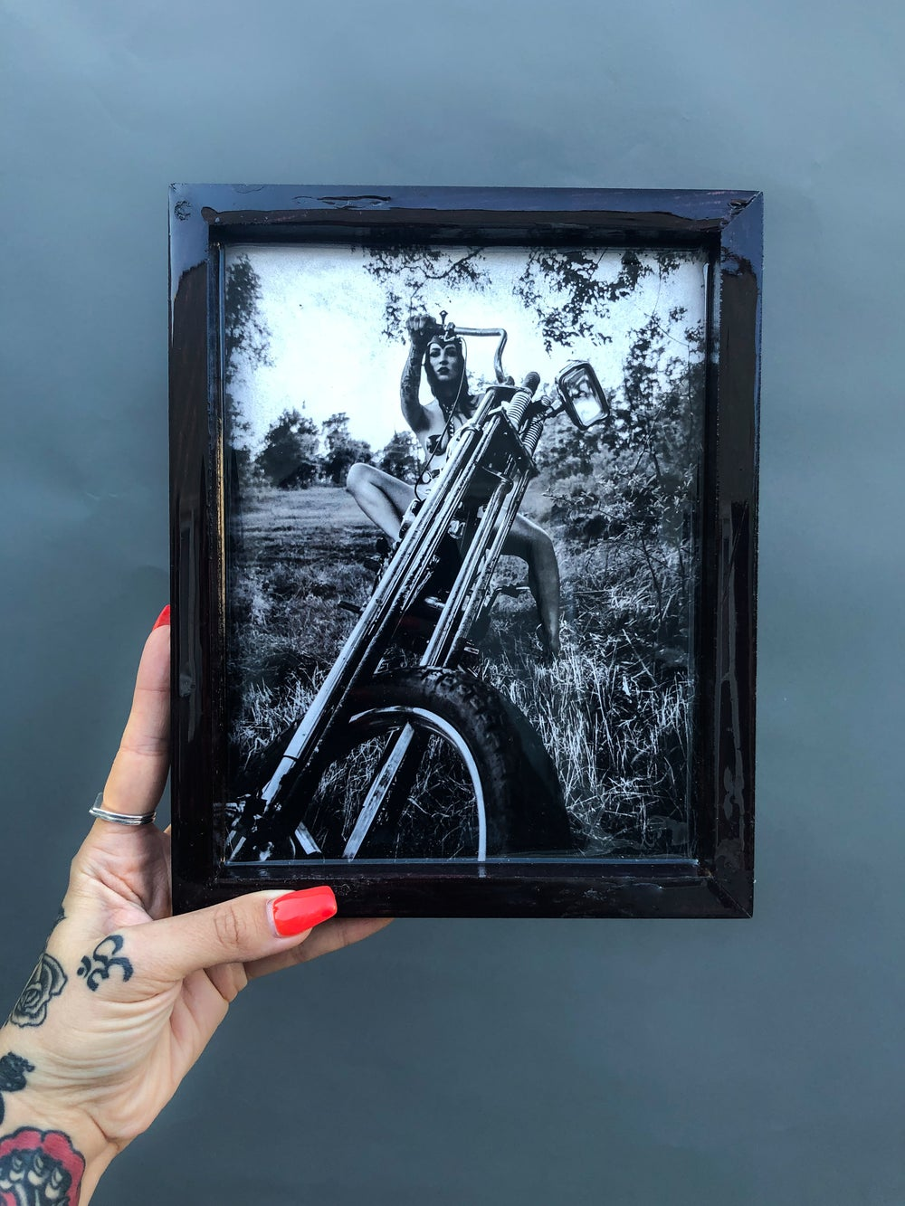 Image of Painted Lady XV. Rolling Tray- Metallic photo paper resin overlay on stained wood  (READY TO SHIP)