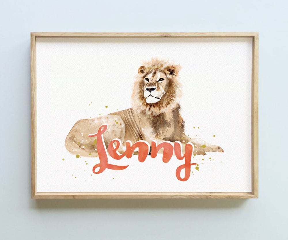 Image of Personalised Name Print - Lion