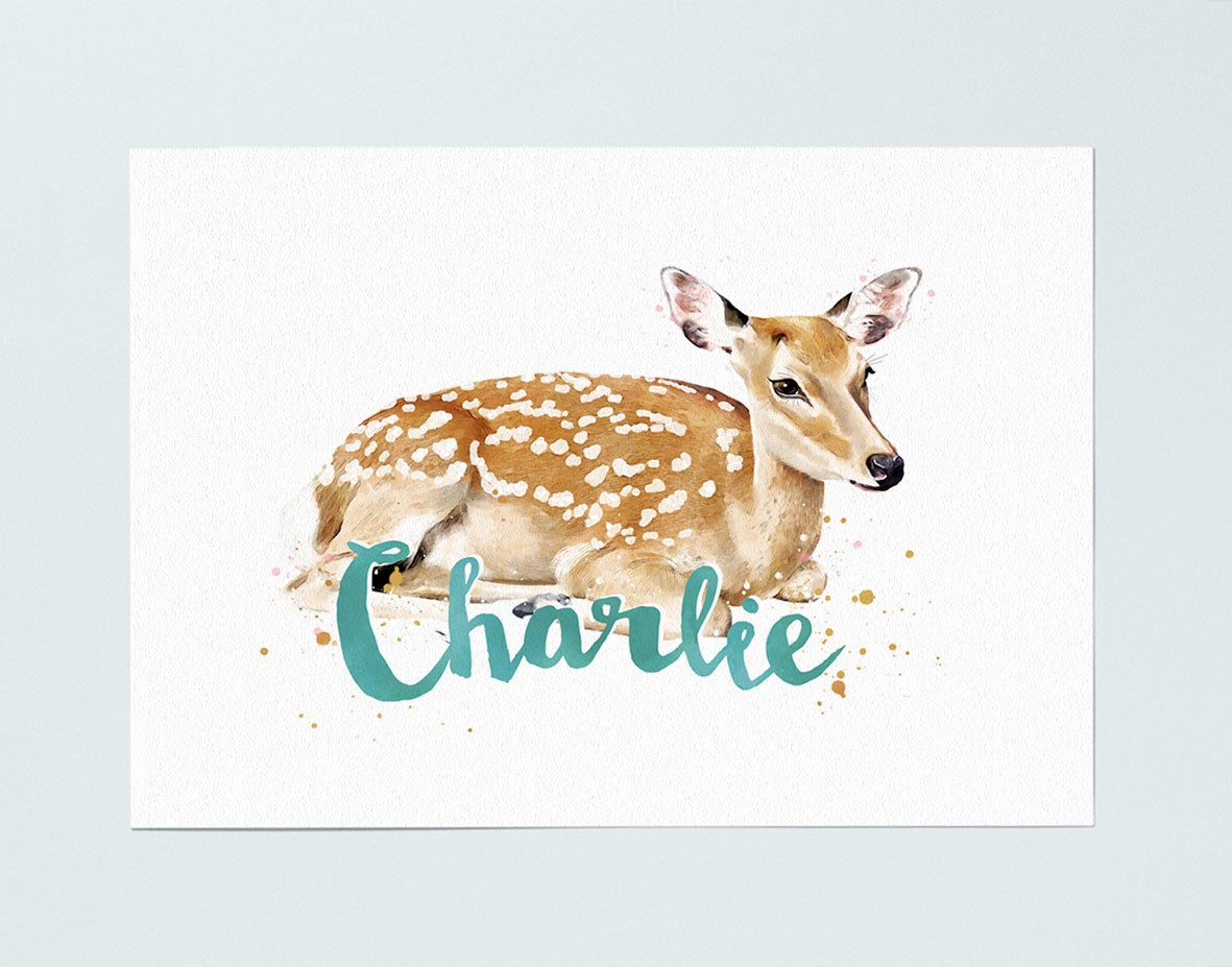 Image of PERSONALISED NAME PRINT - DEER