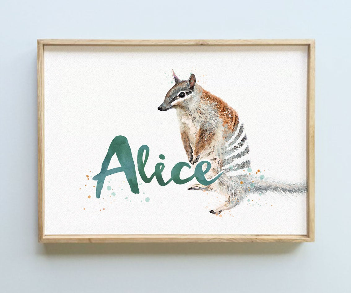 Image of PERSONALISED NAME PRINT - NUMBAT