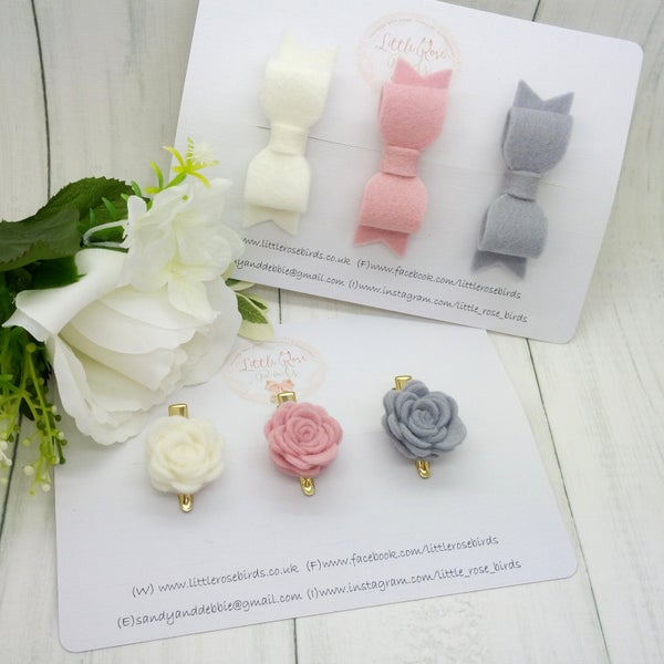 Image of Bow and Mini Rose Set - White / Ascot / Turtle Dove