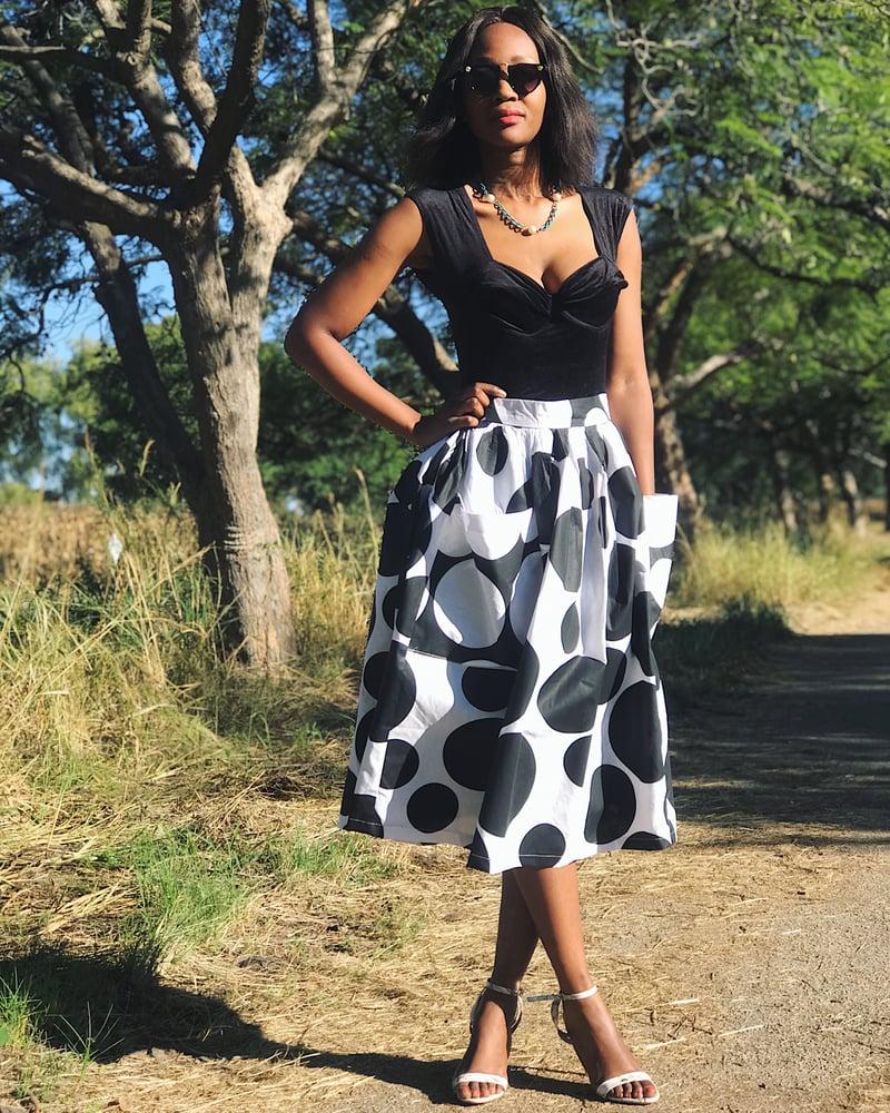 Image of 100% Cotton Circle Print Midi Skirt (Lined)