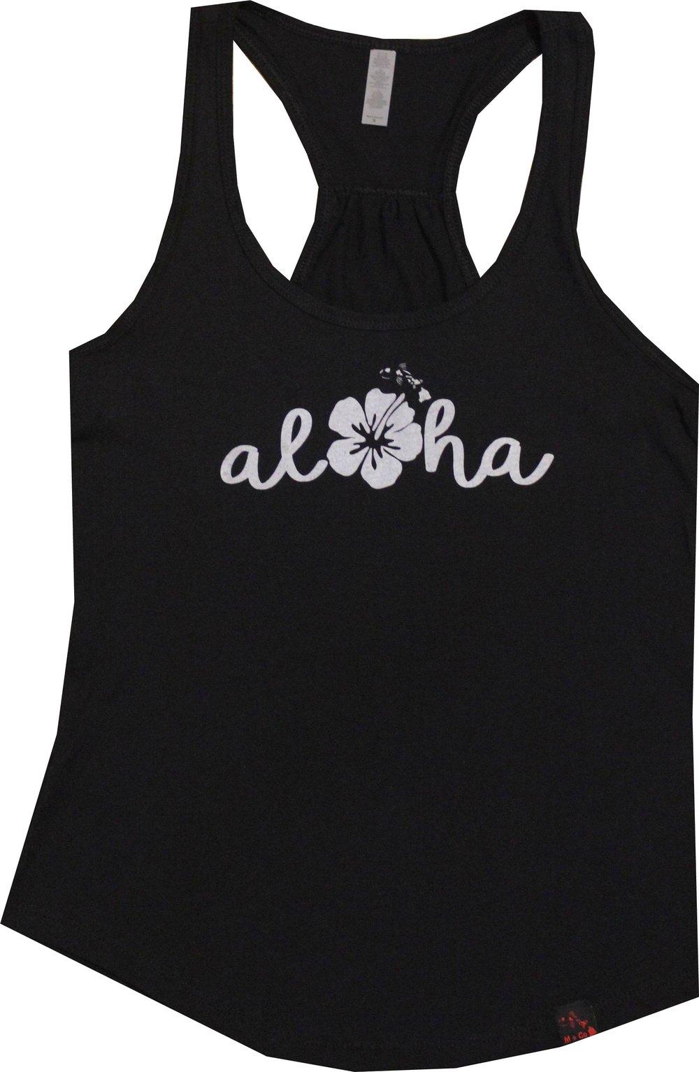 Image of Aloha Hibiscus - Black Tank