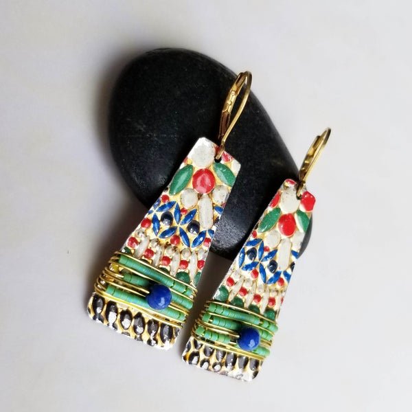 Image of Multi-Color Mosaic Vintage Tin Earrings