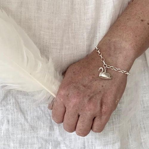 Image of Sterling silver swan bracelet