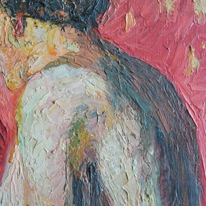 Image of  1926, French Oil Painting, 'Red Nude,' Emile Navarin