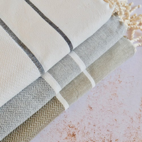 Image of Fouta 100% Coton Recyclé - Chevrons