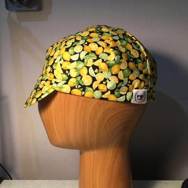 Image of Cotton cycling cap - lemon and lime