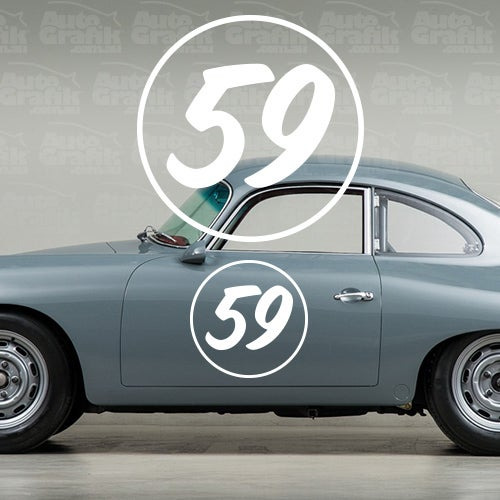 Image of 356 TYPE OVERSIZED RACING NUMBER + OUTLINE DISC 580 - 1 X VINTAGE PAINTED STYLE