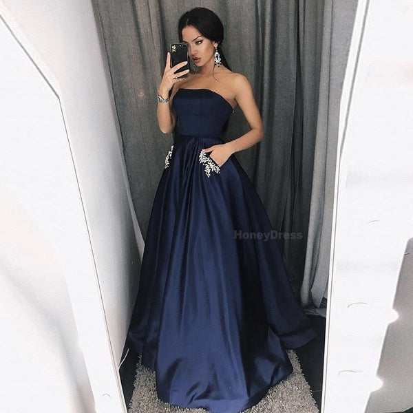 Image of Long Navy Blue Prom Dress With Pockets Rhinestone, Strapless A Line Evening Formal Gown