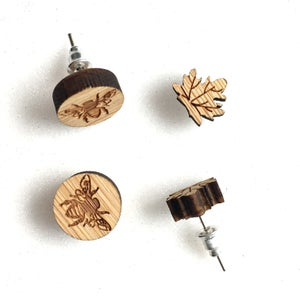 Image of Laser-Engraved Wooden Earrings (Bee or Leaf)