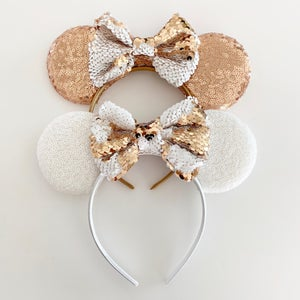 Image of Rose Gold and White Mouse Ears with Flip Sequin Bow