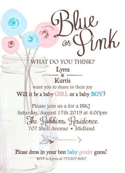 Image of Blue or Pink Gender Reveal Party Invitation