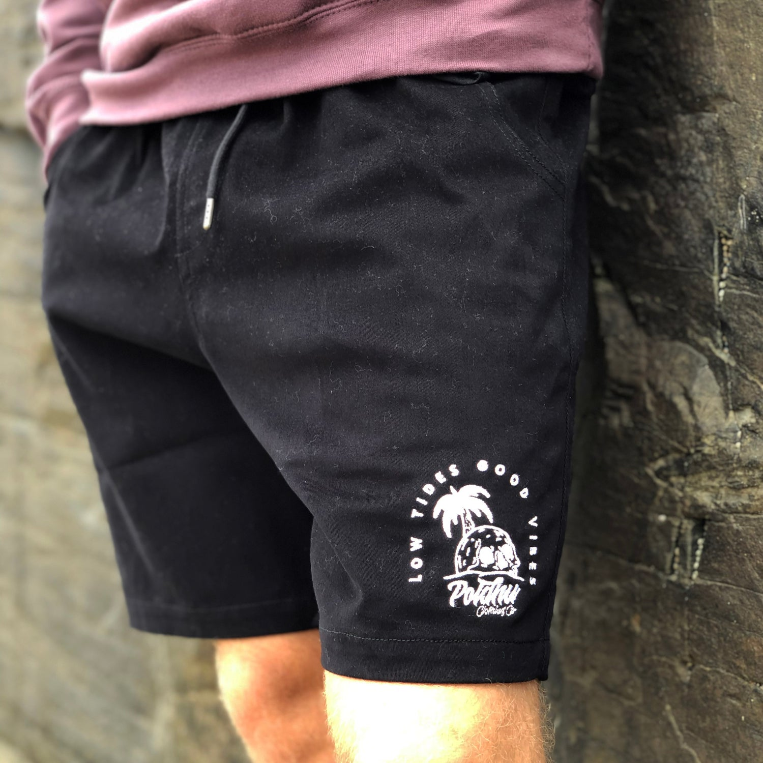 "Image of Walk Shorts Black ""Low Tides Good Vibes"""