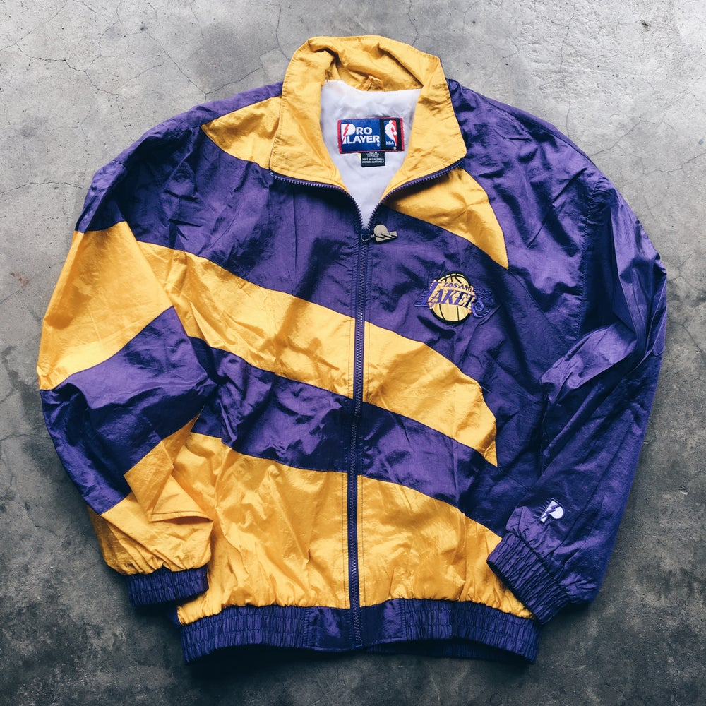 Image of Original 90's Pro Player Los Angeles Lakers Windbreaker Jacket.