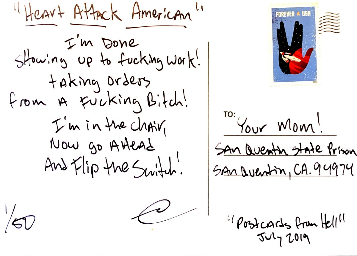 "Image of ""Postcards from Hell"" - Heart attack American"