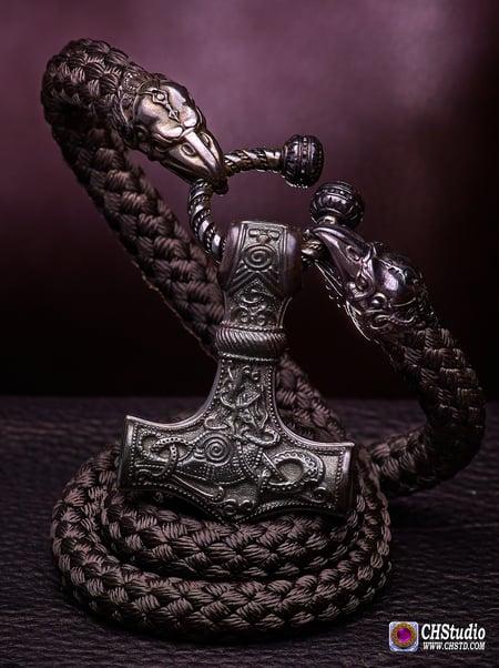 Image of Thor's Hammer : MJOLNIR DARK + Huginn & Muninn Paracord Necklace