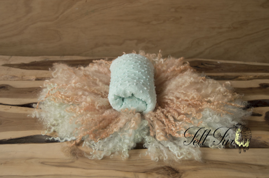Image of Newborn Prop Set, 2 x Felted Fur Posing Rugs & 1 x Baby Wrap. Photography Prop Bundle. (SET 32) RTS