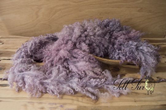 Image of Newborn Baby Photo Prop. Felted Garland Ribbon Piece. (SP15) Dusky Purple Basket Filler, Curly Prop,