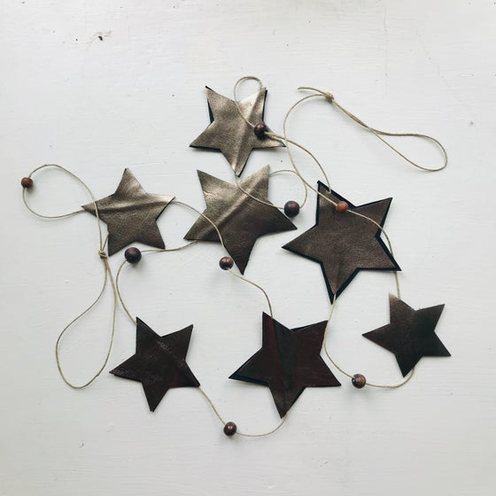 Image of Pewter Leather Star Garland