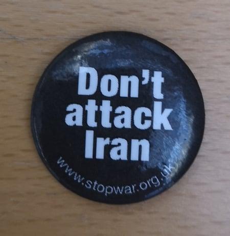 Image of Don't Attack Iran Badge