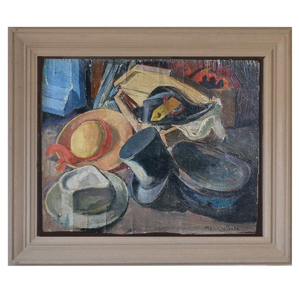 Image of Early 20thC, French Oil Painting, 'Les Chapeaux.'