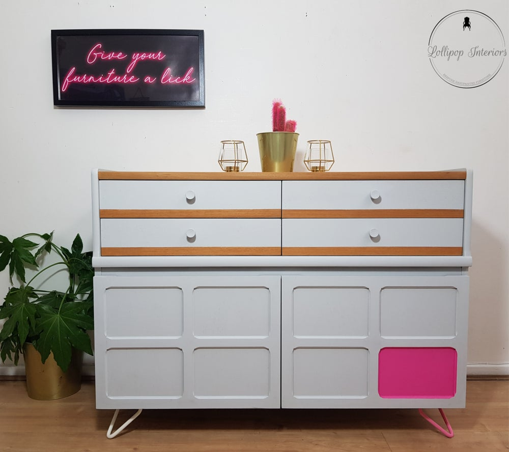 Image of Parker Knoll sideboard in grey with hairpin legs