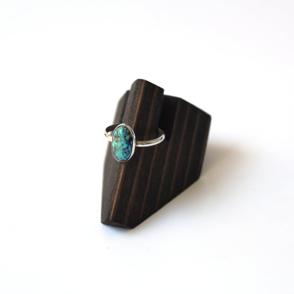 #8 Turquoise Sterling Silver Ring - Size 8