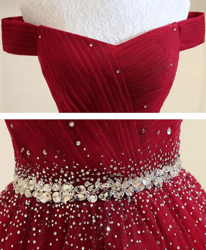 Beautiful Dark Red Tulle Beaded Long Formal Dress, New Prom Dress