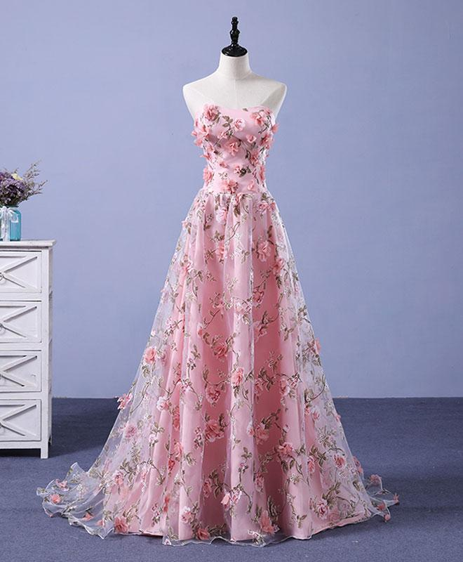 Charming Pink Lace Floral Long Party Dress, Elegant Prom Dress