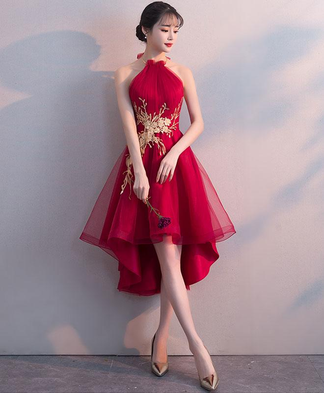 Cute High Low Dark Red New Homecoming Dress, Short Prom Dress