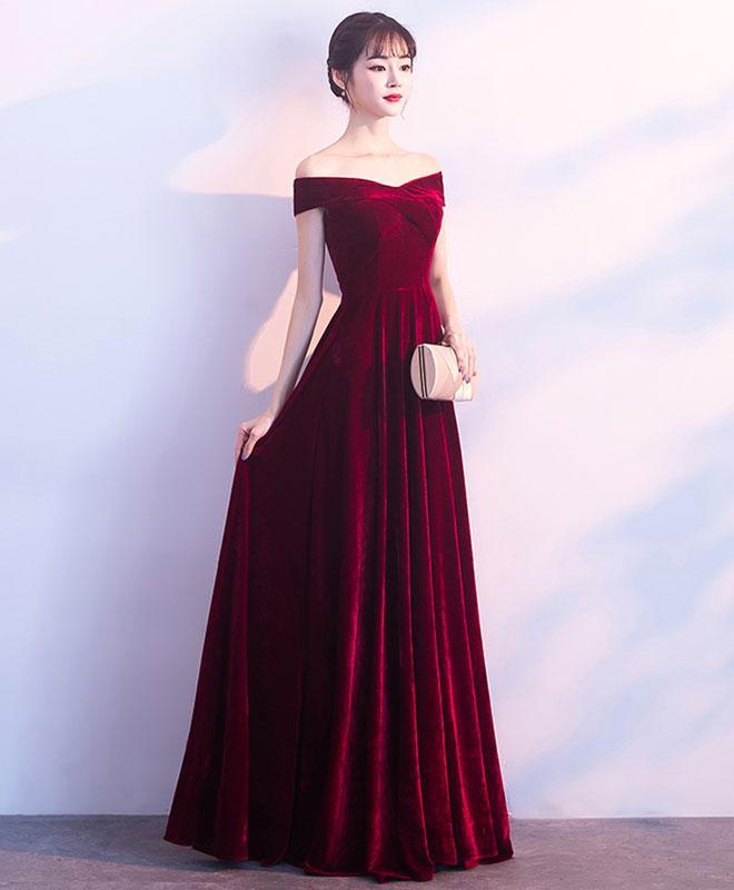 Dark Red Velvet Long Bridesmaid Dress, Elegant Off the Shoulder Party Dress