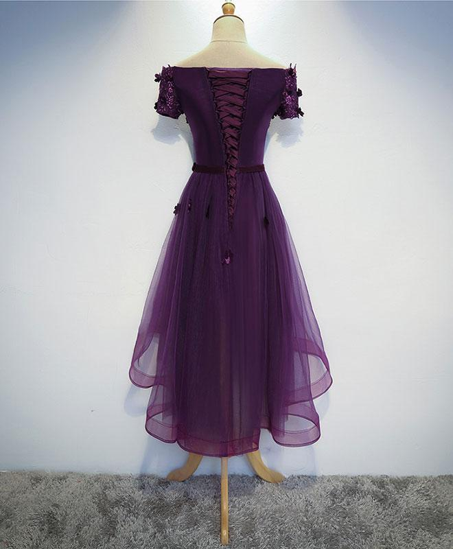 Lovely Dark Purple High Low Tulle Homecoming Dress, Cute Short Prom Dress