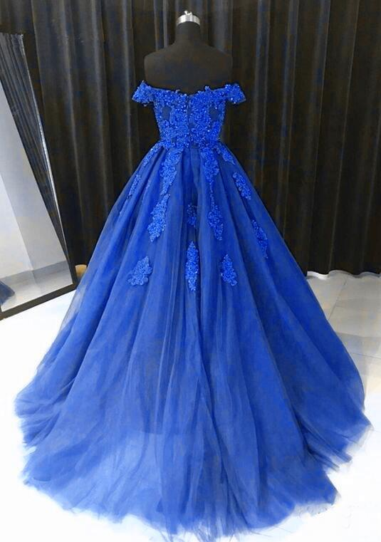 Beautiful Royal Blue Tulle Long Party Dress, Off Shoulder Sweet 16 Gowns