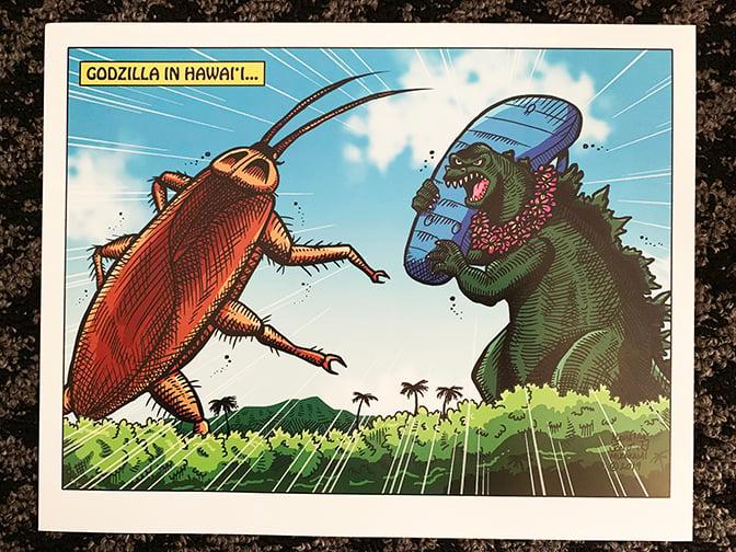 """Godzilla in Hawaii 11x14"""" print"""