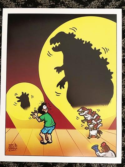 Image of Godzilla Chicken Shadow Print
