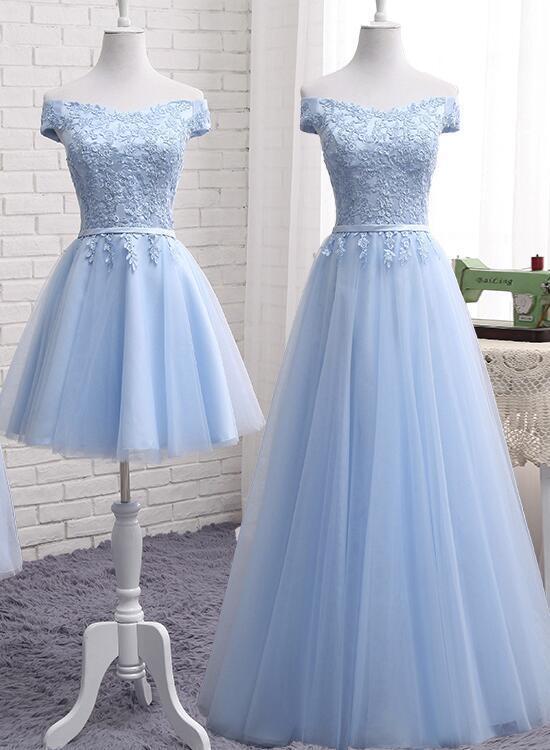 Pretty Light Blue Off the Shoulder Simple Prom Dress, Bridesmaid Dresses