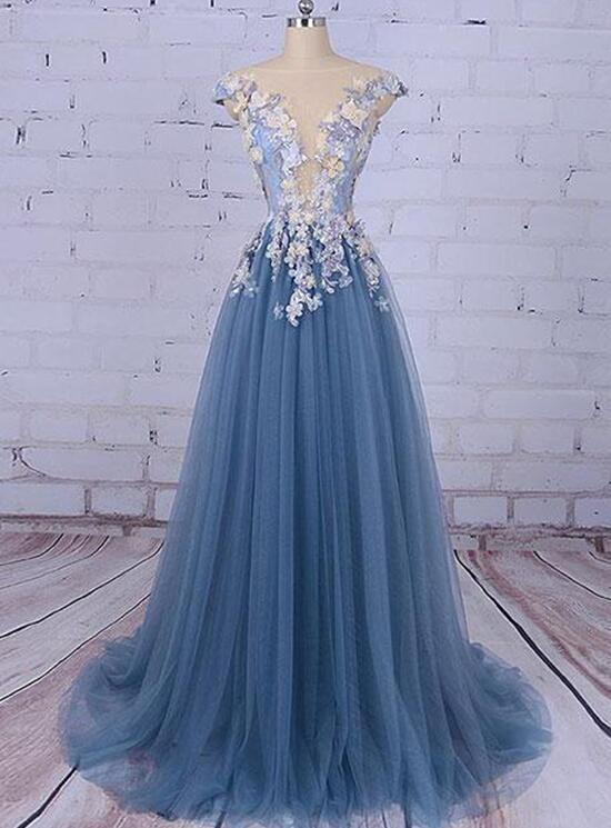 Gorgeous Blue Tull with Flowers A-line Formal Dress, Blue Gowns