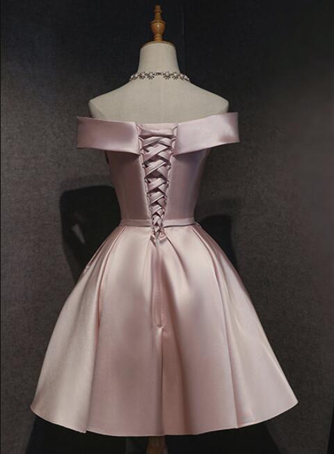 Pink Off the Shoulder Satin Knee Length Homecoming Dress, Short Prom Dress