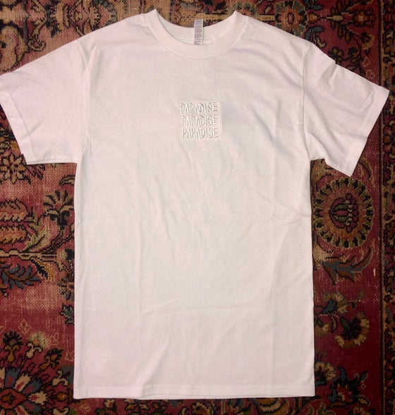 Image of PARADISE. EMBROIDERED T-SHIRT