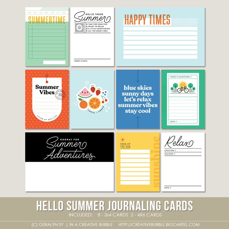 Image of Hello Summer Journaling Cards (Digital)