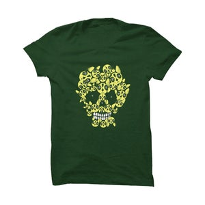 Image of Tre allegri ragazzi morti - T-Shirt 'Teschio gatto' verde (Special Edition)