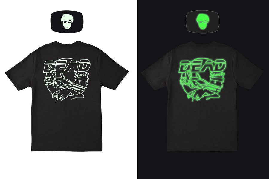 Image of DEAD EMBLEM TEE + MASK - GLOW IN THE DARK [BACK PRINT]