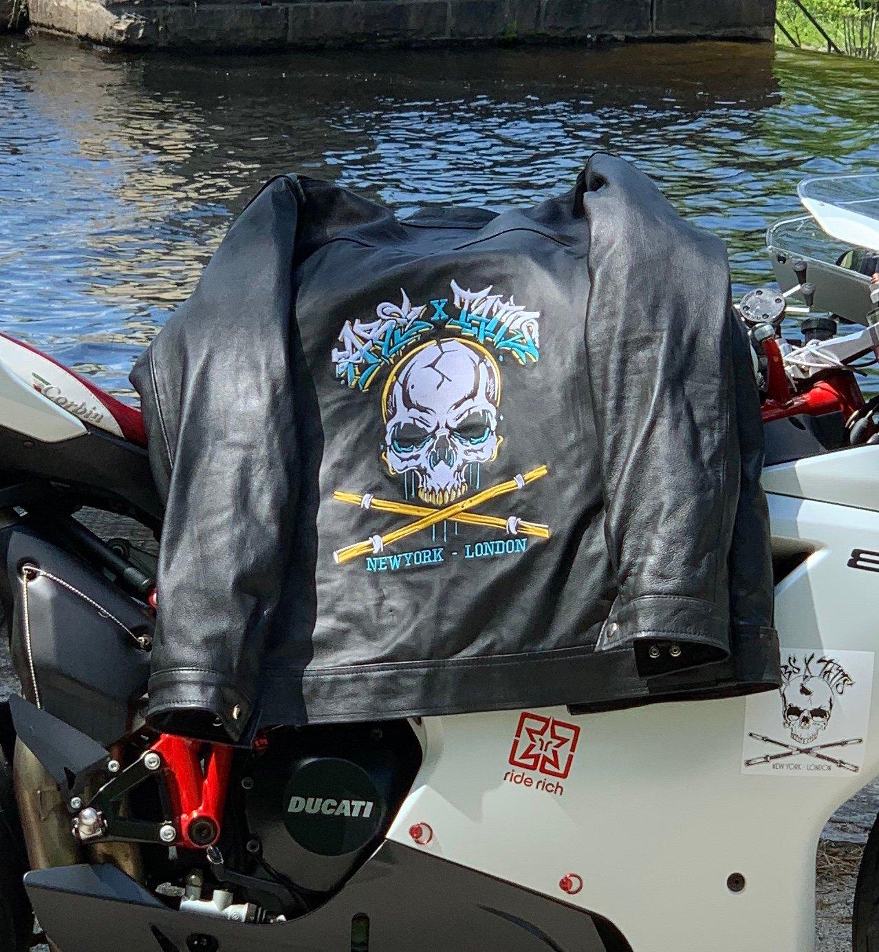 Image of Graffiti Drip Leather Jacket