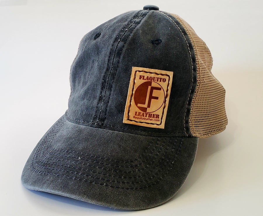 Image of Leather Patch Trucker Hat. Flaquito Leather