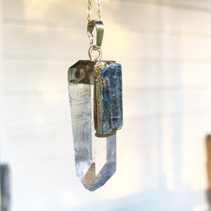 Image of 24k Gold Dipped Quartz & Kyanite Necklace (Ready to Ship)