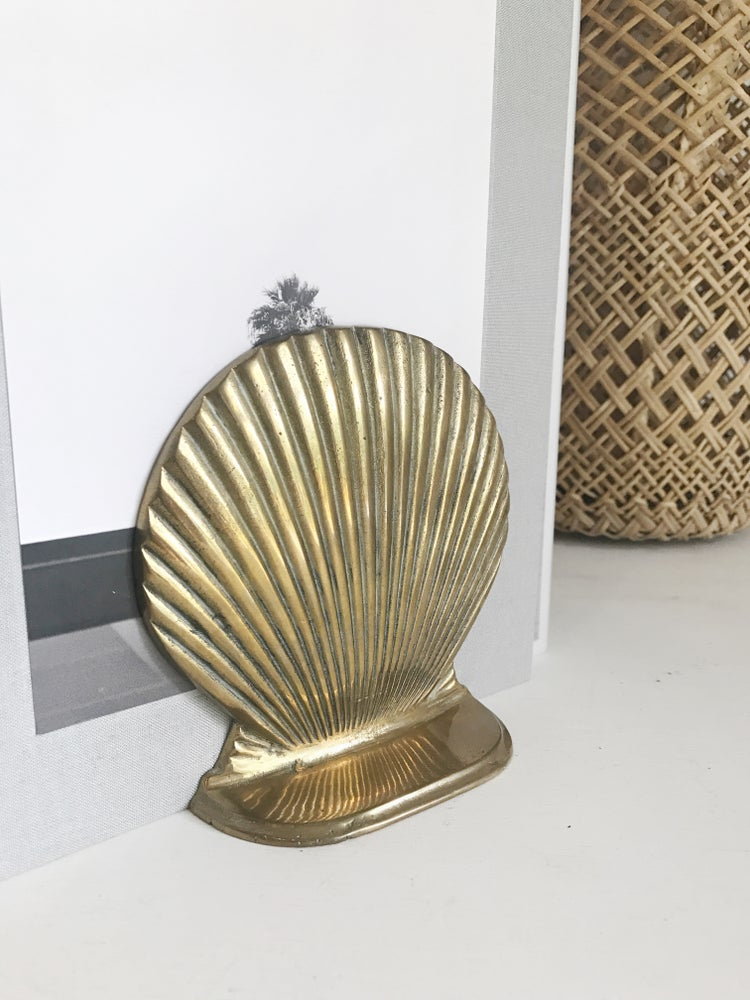 Image of Solid Brass Shell Bookends